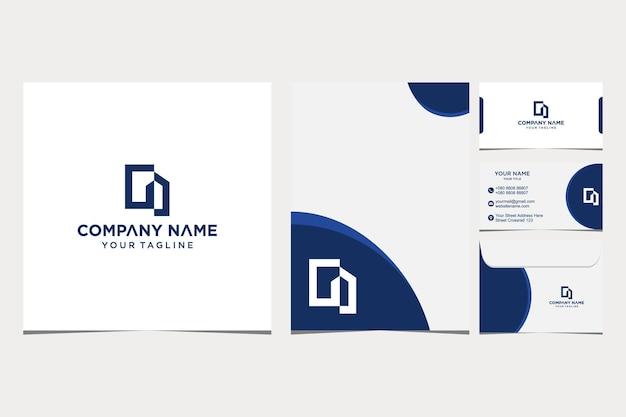 会社と名刺の封筒とレターヘッドプレミアムベクトルプレミアムベクトルのホーム抽象的なロゴデザインのインスピレーション