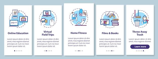 개념이 있는 홈 활동 온보딩 모바일 앱 페이지 화면. 엔터테인먼트, 피트니스 및 교육 연습 5단계 그래픽 지침. rgb 컬러 일러스트가 있는 ui 벡터 템플릿