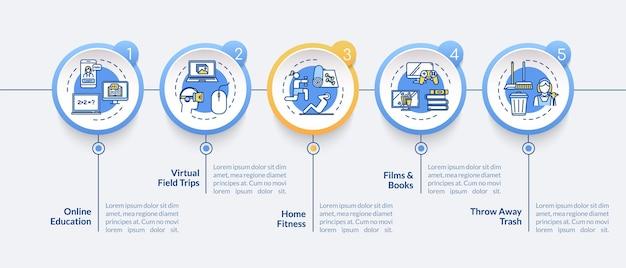 홈 활동 벡터 infographic 템플릿입니다. 엔터테인먼트 및 온라인 교육 프레젠테이션 디자인 요소입니다. 5단계로 데이터 시각화. 프로세스 타임라인 차트. 선형 아이콘이 있는 워크플로 레이아웃
