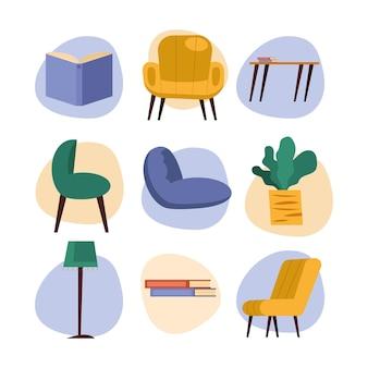 가정 및 책 아이콘 세트 디자인, 방 및 장식 테마 그림