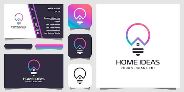 Сочетание логотипа дома и лампы в стиле арт-линии. линия логотип с иконками здания и дизайн визитной карточки