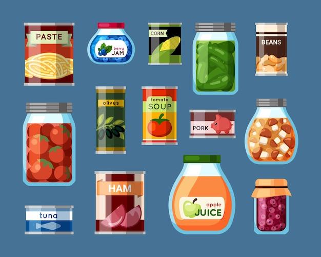 家庭と工場の缶詰食品セット。缶に密封されたオリーブとトウモロコシ農家のきのことトマトの準備長期保管用魚と豚肉の便利な包装。ベクトル漫画の株式