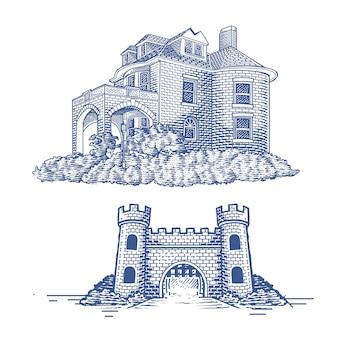 Дом и ворота выгравированы рука рисунок