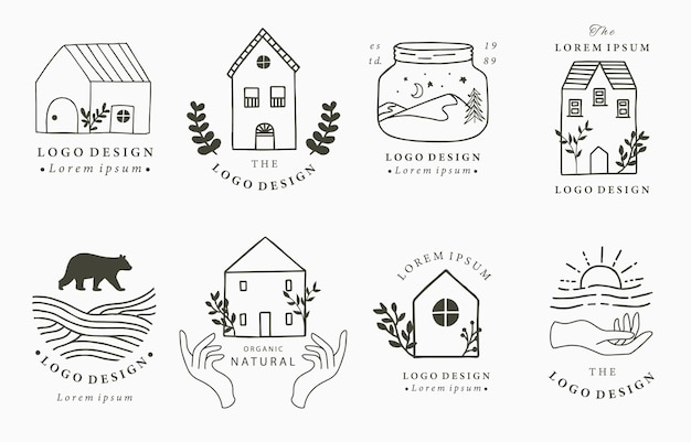 야생, 자연, 동물, 꽃, 원으로 집과 집 로고 컬렉션. 아이콘, 로고, 문신, 액세서리 및 인테리어 그림