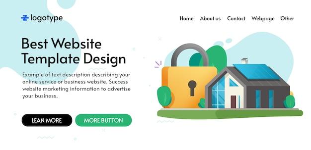 Концепция безопасного страхования дома и дома, дизайн макета шаблона веб-сайта