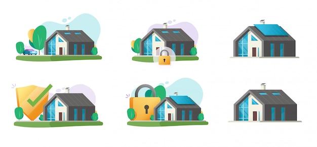 セキュリティロック保護が設定された家と家のスマートモダンな建物ベクトルを設定