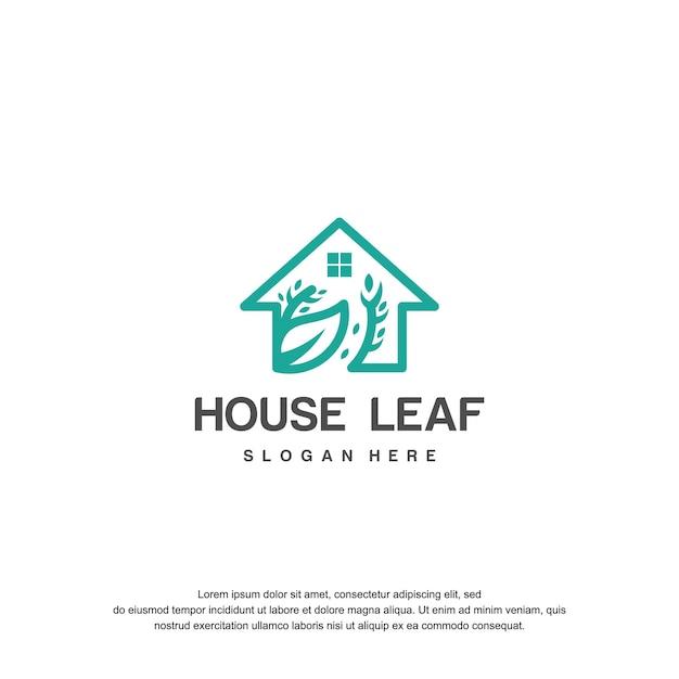 가정과 잎 로고 디자인 아이콘 개념