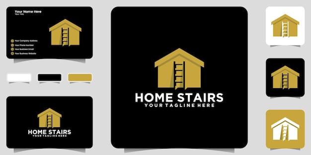 家と階段のロゴデザインのインスピレーションアイコンと名刺のデザイン