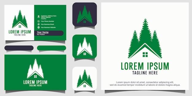 Дом и сосны ель кедр дизайн логотипа