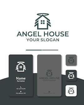 Home angel logo design house roof wing fly