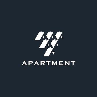 建設ロゴデザインネガティブスペースのための家のアパートの幾何学的形状の不動産