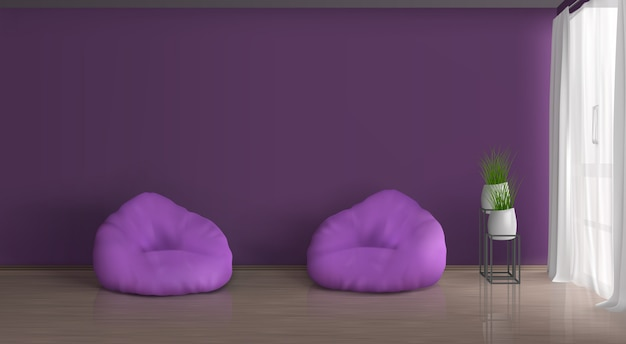 Home, apartment living room realistic vector violet, purple interior. empty wall, two bean bag chairs on floor, plants in ceramic flowerpots on metallic stand, curtained with white tulle window
