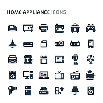 Home appliance icon set. fillio black icon series.