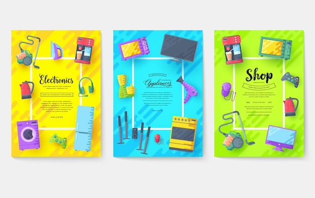 Набор карт бытовой техники. шаблон электроники flyear, журналы, плакаты, обложка книги, баннеры.