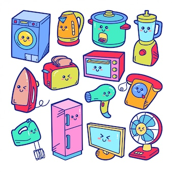 Home appliances cute doodle illustration