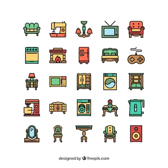 Home appliances and furniture icon set
