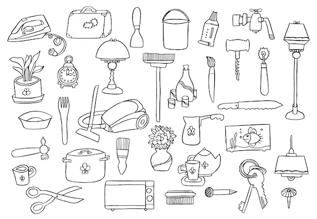Набор рисования руки бытовой техники. различная бытовая техника и предметы