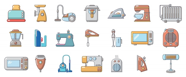 Home appliances icon set. cartoon set of home appliances vector icons set isolated