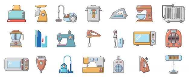 Набор иконок бытовой техники. мультфильм набор бытовой техники векторных иконок, изолированных