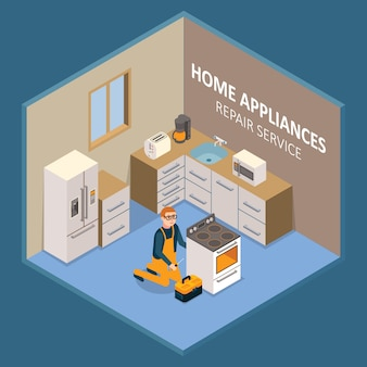 Home appliances repair service illustration