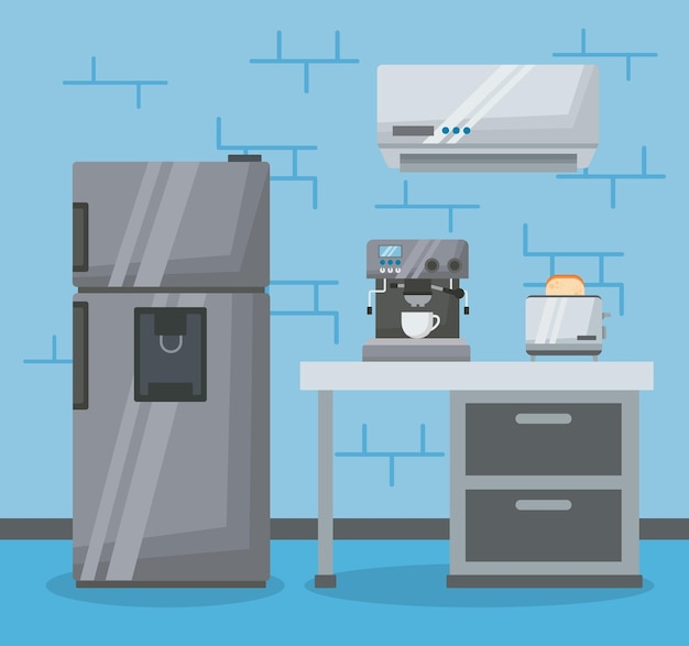 Home appliances in room set icons