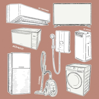 Home appliances. set of household kitchen technics, hand draw sketch .