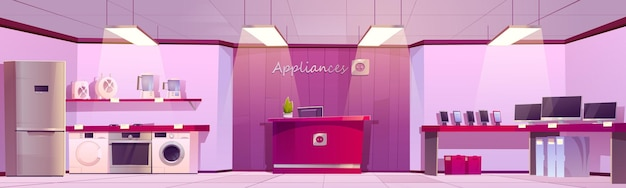 전화기와 냉장고가 있는 가전제품 매장