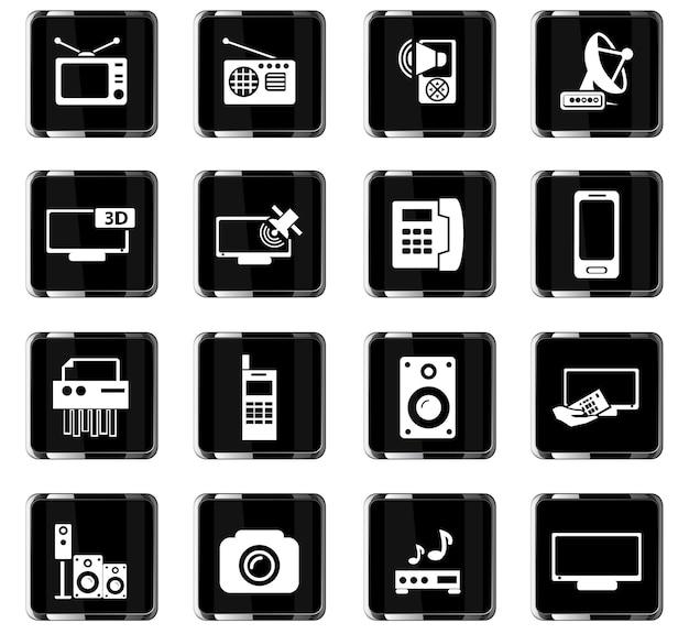 Векторные иконки бытовой техники для дизайна пользовательского интерфейса