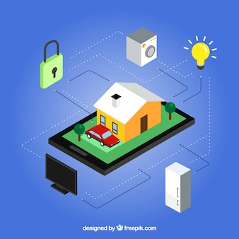 Home and appliances with internet in isometric style