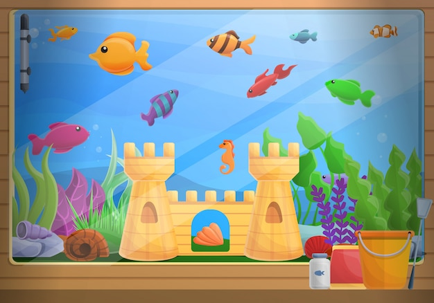 Home aquarium concept illustration, cartoon style