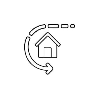 홈 자동화 및 손으로 그린 개요 낙서 아이콘 주위의 화살표. 스마트 하우스 자동화 기술 개념