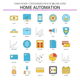 Home automation flat line icon set