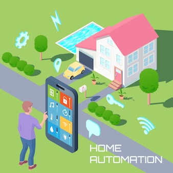 Home automation isometric design composition
