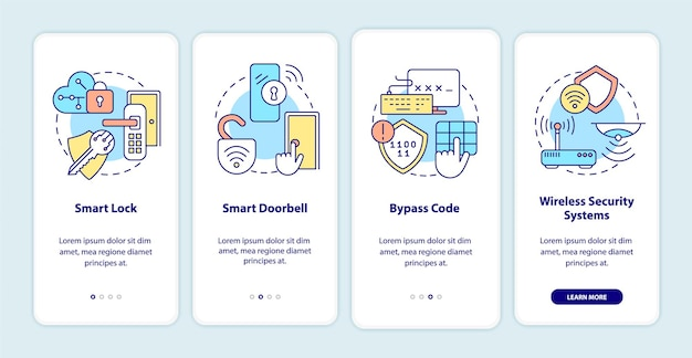 Home automation onboarding mobile app page screen. house security tools. smart house walkthrough 4 steps graphic instructions with concepts. ui, ux, gui vector template with linear color illustrations