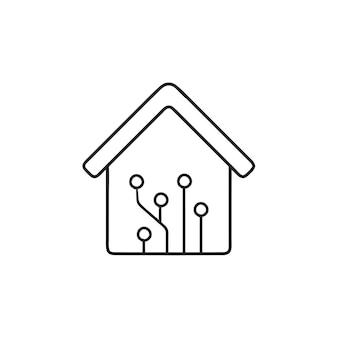 회로 기판 손으로 그린 개요 낙서 아이콘으로 홈 자동화. 스마트 홈 기술 개념