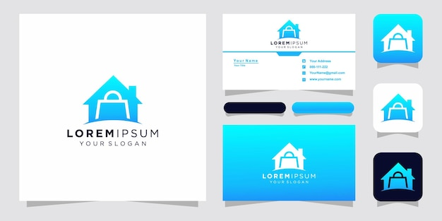 Home and bag logo property with business card Premium Vector