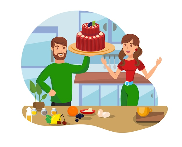 Home baking cartoon, isolated on white background