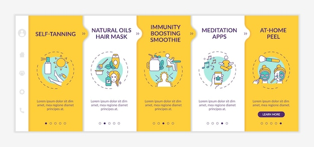 At-home beauty remedies onboarding  template. self-tanning. immunity-boosting smoothie. yoga app. responsive mobile website with icons. webpage walkthrough step screens. rgb color concept