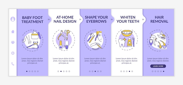 At-home beauty therapy onboarding  template. baby foot treatment. shaping eyebrows. hair removal. responsive mobile website with icons. webpage walkthrough step screens.