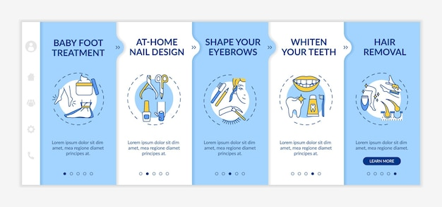 At-home beauty therapy onboarding  template. nail design. teeth whitening. depilation, epilation. responsive mobile website with icons. webpage walkthrough step screens. rgb color concept