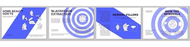 Шаблон брошюры домашних косметических процедур. флаер, буклет, печать листовок, дизайн обложки с линейными иконками. удаление скин-тегов. л