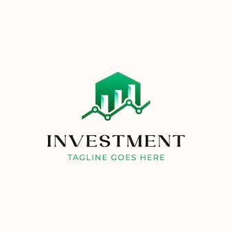 Шаблон логотипа инвестиций диаграммы строительства дома, изолированные на белом фоне
