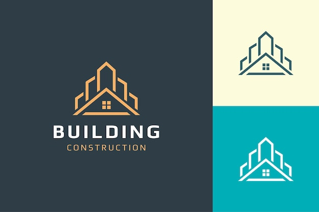 Home or building logo in modern shape for real estate business