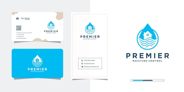 Home and business card symbol sea water drop logo design
