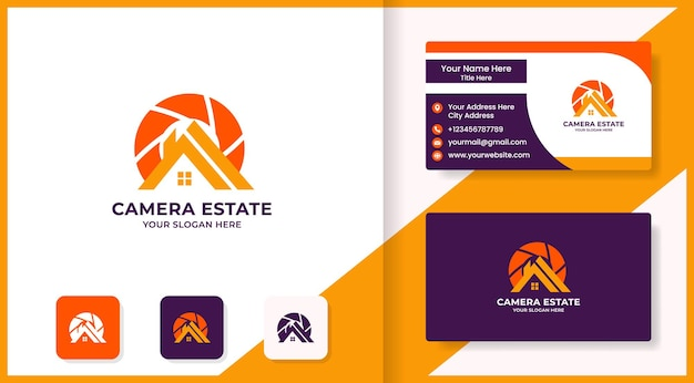 Home and camera lens logo and business card