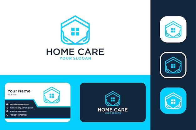 Home care with home and hand logo design and business card