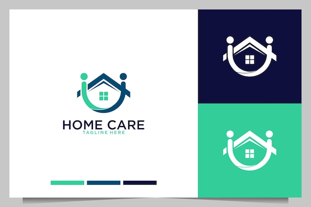 Home care with people and house logo design