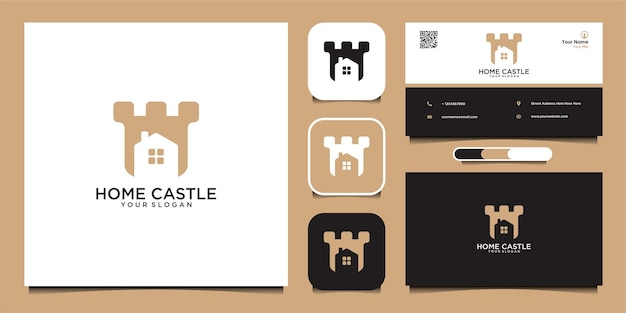ホーム城のロゴデザインテンプレートと名刺プレミアムベクトル