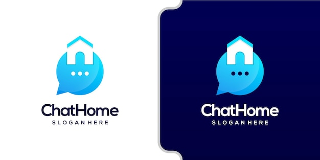 Home and chat logo combine modern style