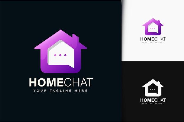 그라데이션이 있는 홈 채팅 로고 디자인